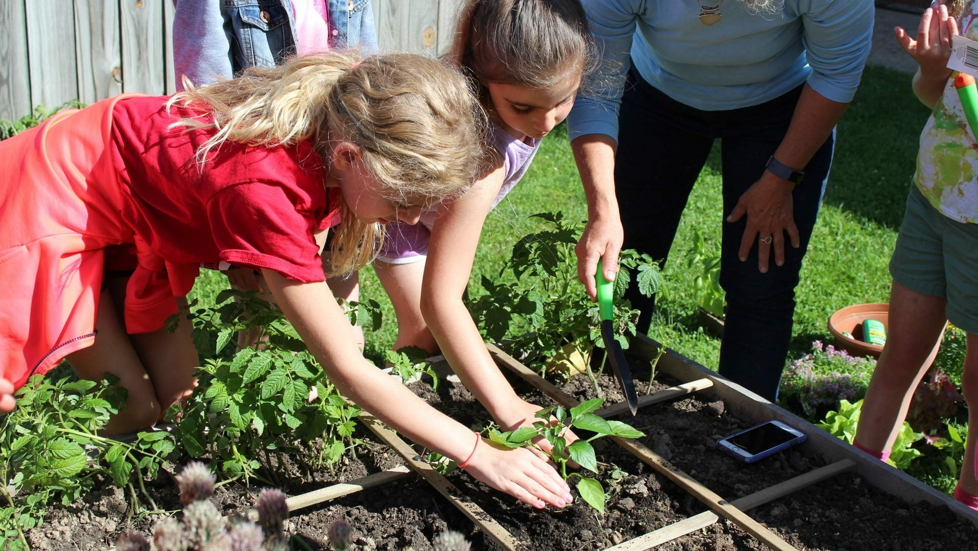 Students learning how to garden
